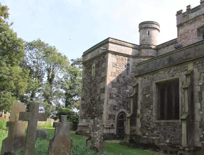 Unusual Watch-Tower on Roos Church. The beginning of Dents Garth woodland may be seen to the Left