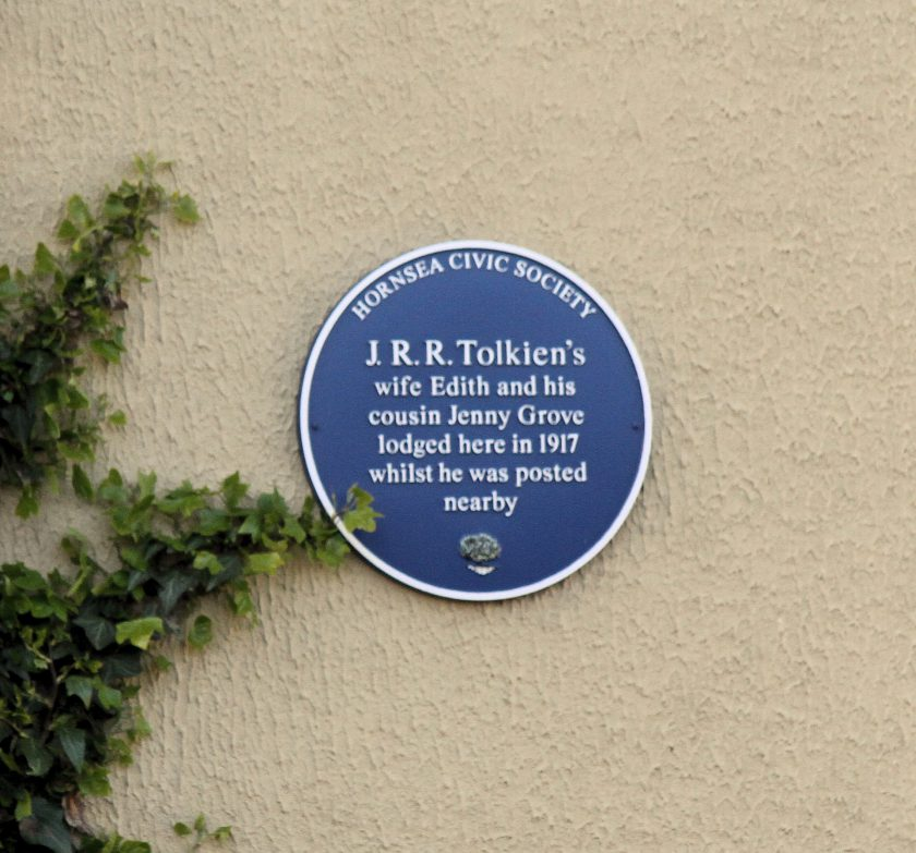 Blue Plaque on 1 Bank Terrace, Hornsea. NB Jennie Grove is incorrectly said to be Tolkien's cousin, and her first name is also spelled incorrectly.