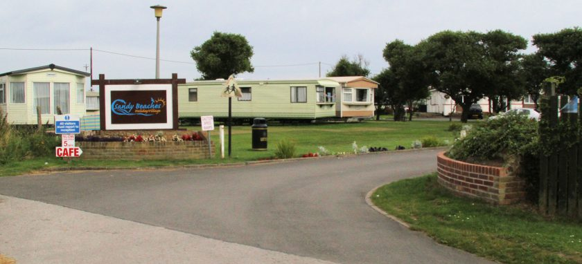 Golden Sands Caravan Park, Kilnsea. The site of the Godwin battery hospital was just behind the notice.