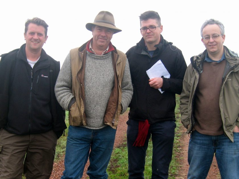 First World War researcher Jeremy Banning, historian Peter Barton, director Sebastian Barfield, and Tolkien and the Great War author John Garth just outside Thiepval Wood, where Tolkien saw action in August and September 1916.