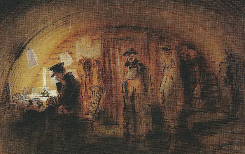 'Intelligence Officer's Shelter, Prisoner Awaiting Re-examination' by Fred A. Farrell