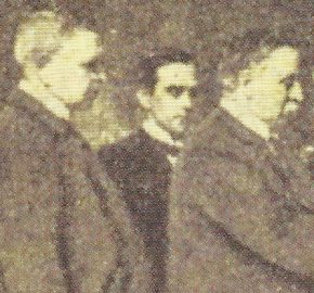 "Only known surviving photo of Fred Farrell (centre), published in Glasgow's ""The Bulletin"", 1 May 1920"
