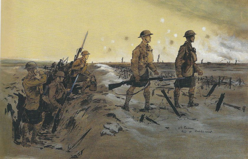 'Daylight Raid by the 6th Gordons at Roclincourt' by Fred A. Farrell