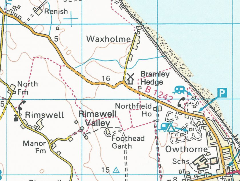 Map showing the route (top left) from Thirtle Bridge to Edith's lodgings in Withernsea - to the bottom right of the lighthouse