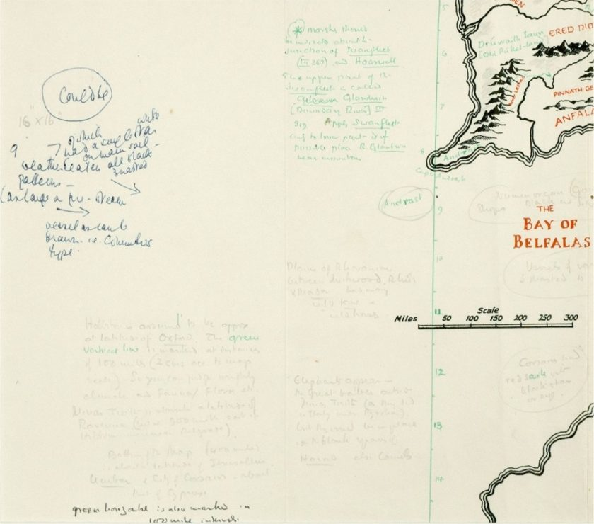 map annotated by tolkien found in pauline bayness copy of the lord of the rings the tolkien society
