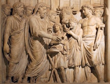 Imagine a bas-relief like this from the Arch of Marcus Aurelius for the Fellowship of the Ring. Would it use a religious motif or simply a martial one?
