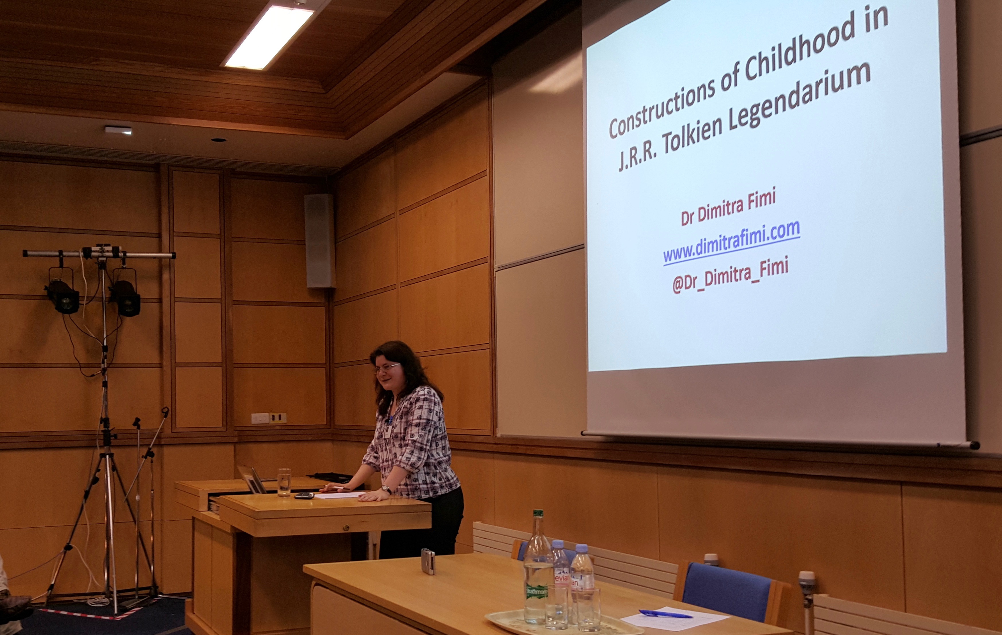 Dr Dimitra Fimi presenting a paper on Constructions of Childhood in J.R.R. Tolkien Legendarium