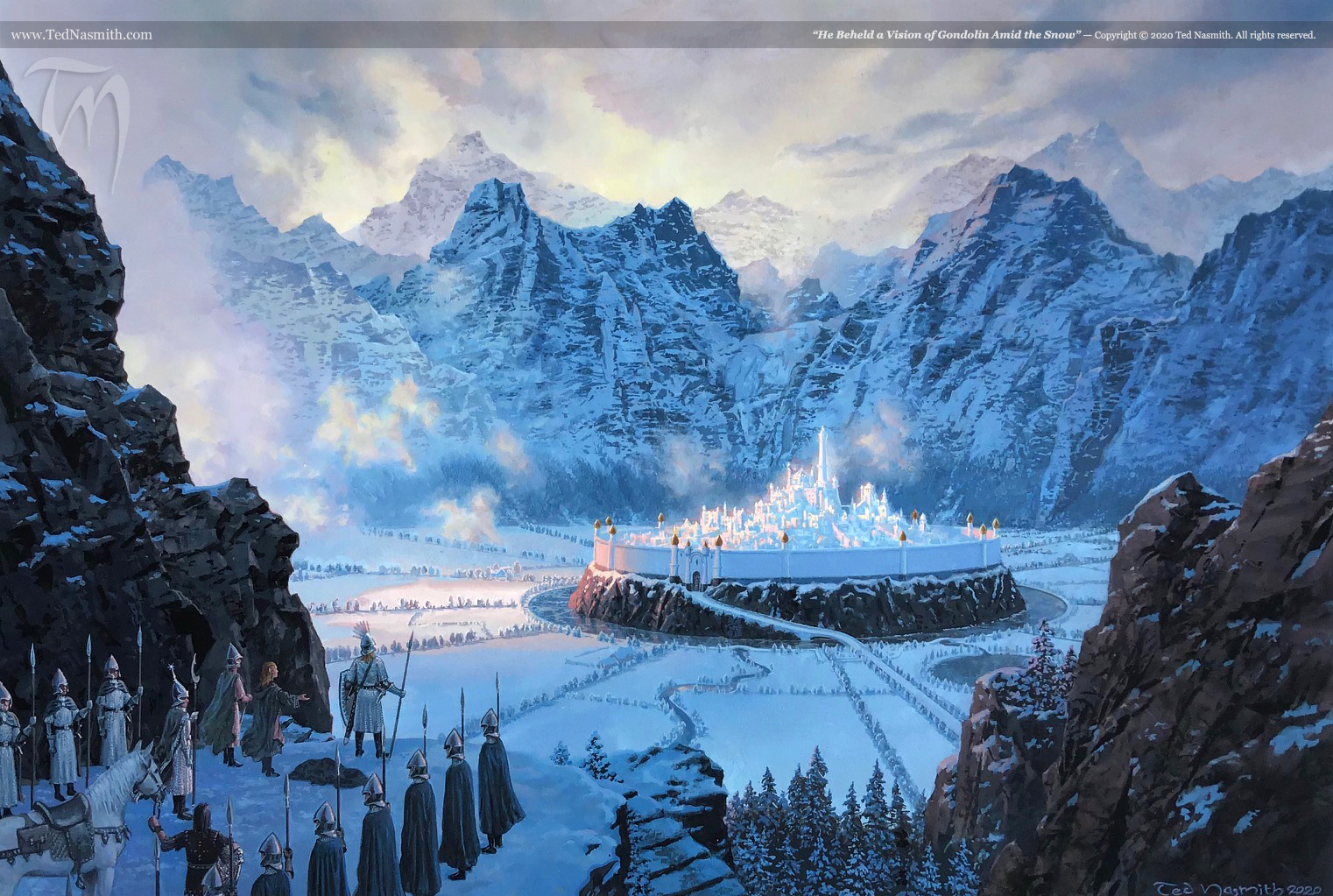 """""""He Beheld a Vision of Gondolin Amid the Snow"""" by Ted Nasmith"""